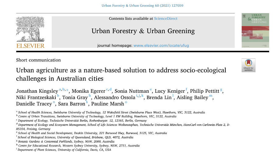 Urban agriculture as a nature-based solution…
