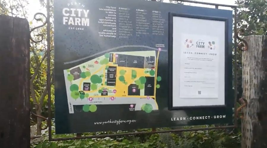 Community garden signs at Perth City Farm