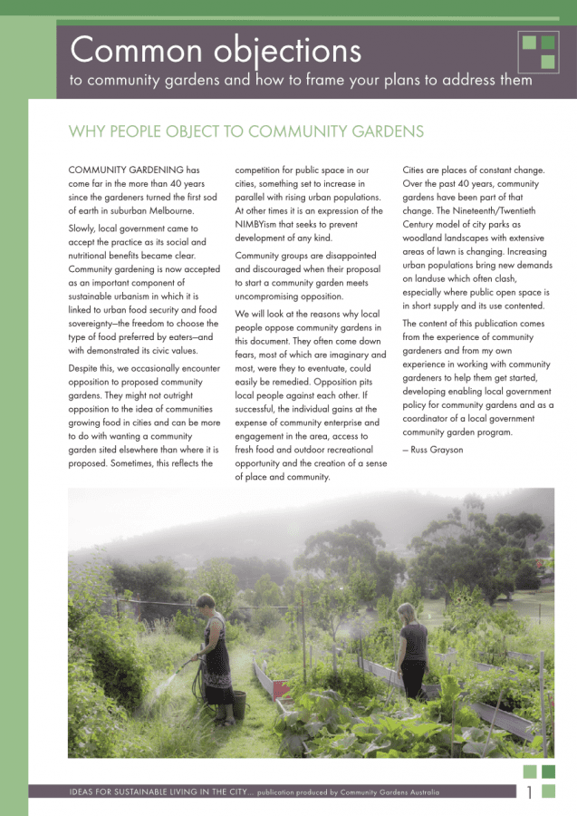 common objections to community gardens
