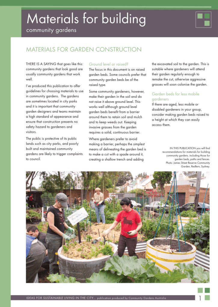 Materials for building community gardens cover